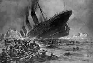 Titanic Sinking by Willy Stower 1912 (artists conception based on witness accounts)