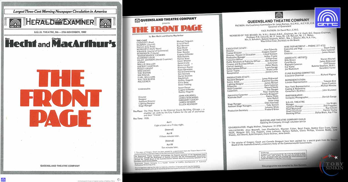 Queensland Theatre Company The Front Page QTC