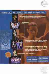 NAKED BOYS SINGING 1999 Off Broadway flyer 2nd Year back