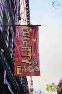Bomb itty of Errors Off Broadway Exterior Marquee Flag
