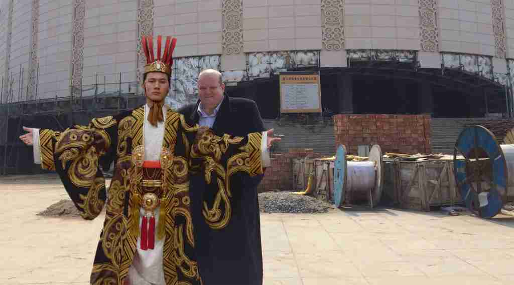 China First Emperor Toby QIN outside theatre