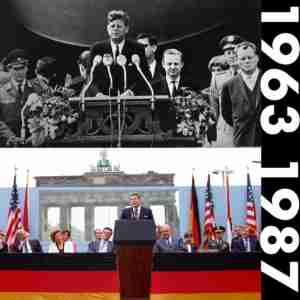 Berlin Wall JFK in 1963 Reagan in 1987