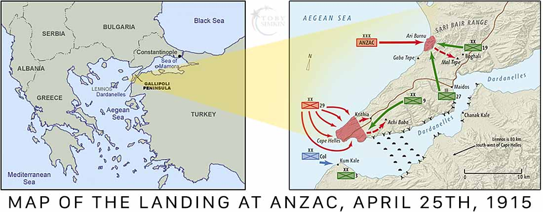 Map of The Landing at Anzac Gallipoli