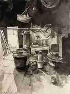 Margaret ng art Chinese ink kitchen