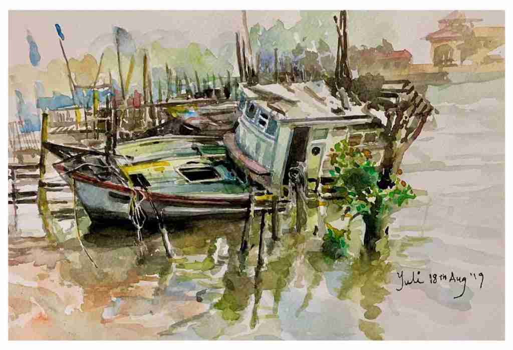 Margaret ng art Singapore fishinng village hommage to father