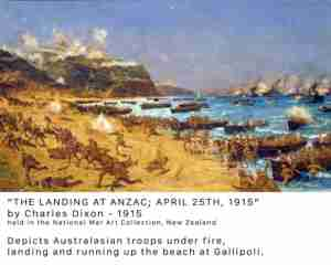 The landing at Anzac by Charles Dixon 1915 at National War Art Collection Archives New Zealand