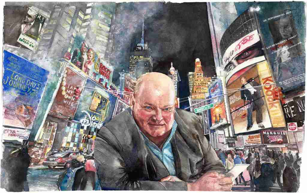 Painting by Margaret Ng (Yuli) Toby Times Squarein 2021 Toby Broadway painting by Yuli Margaret Ng in 2021