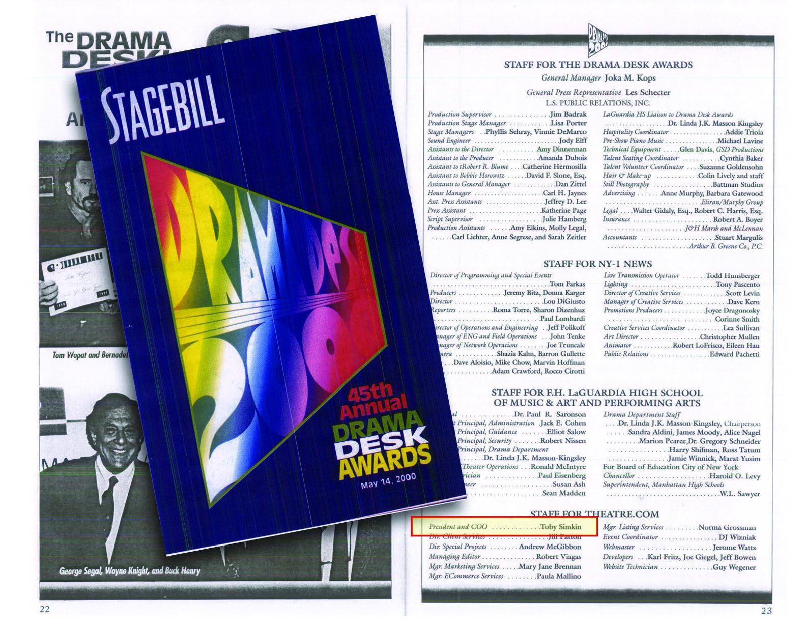 Drama Desk Awards 2000 New York Program