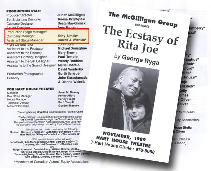 Ecstasy of Rita Joe Toronto Program