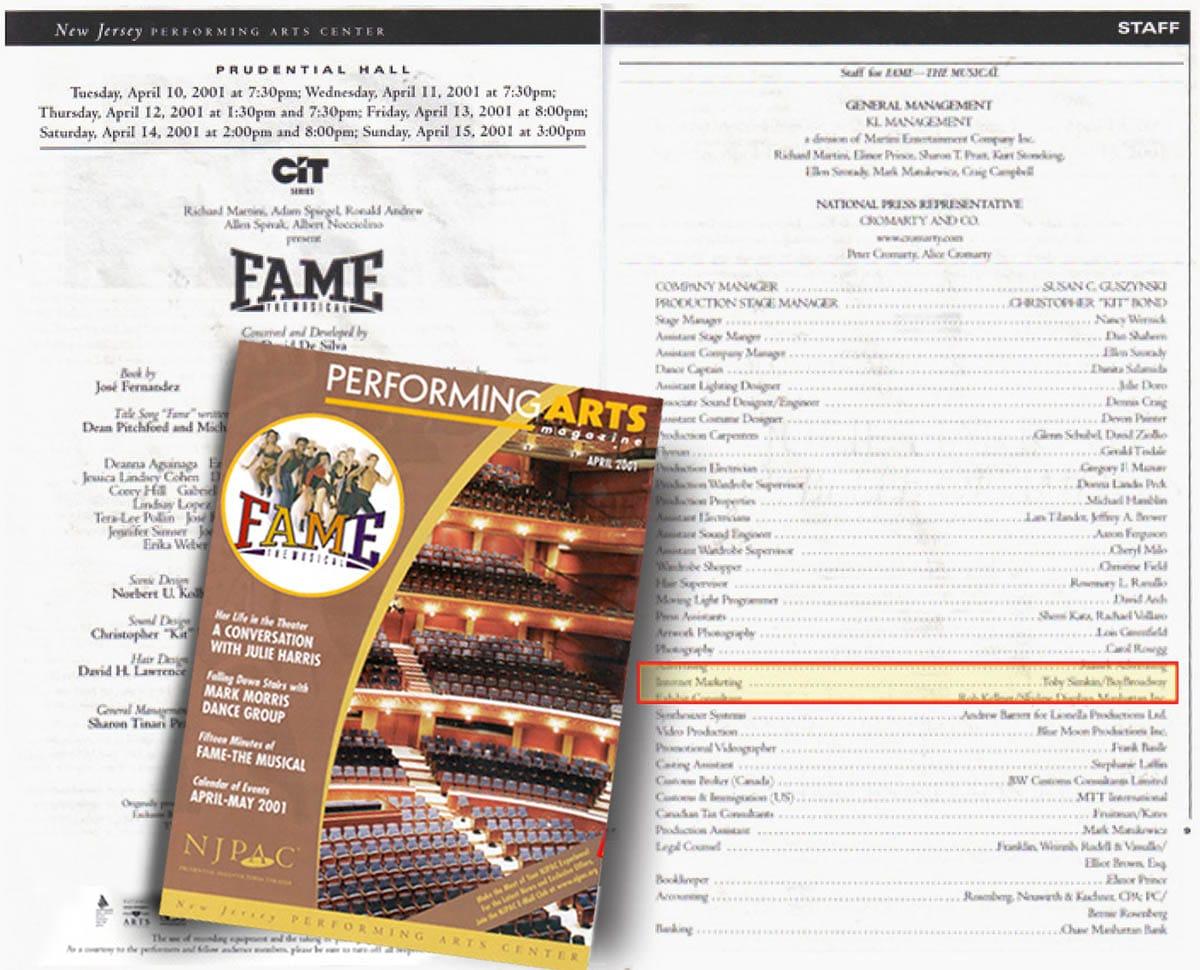 Fame Tour Program NJ PAC