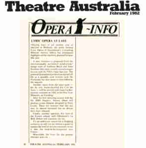 Il Trovatore (1982 Lyric Opera of Qld) [Press] Theatre-Australia-Article