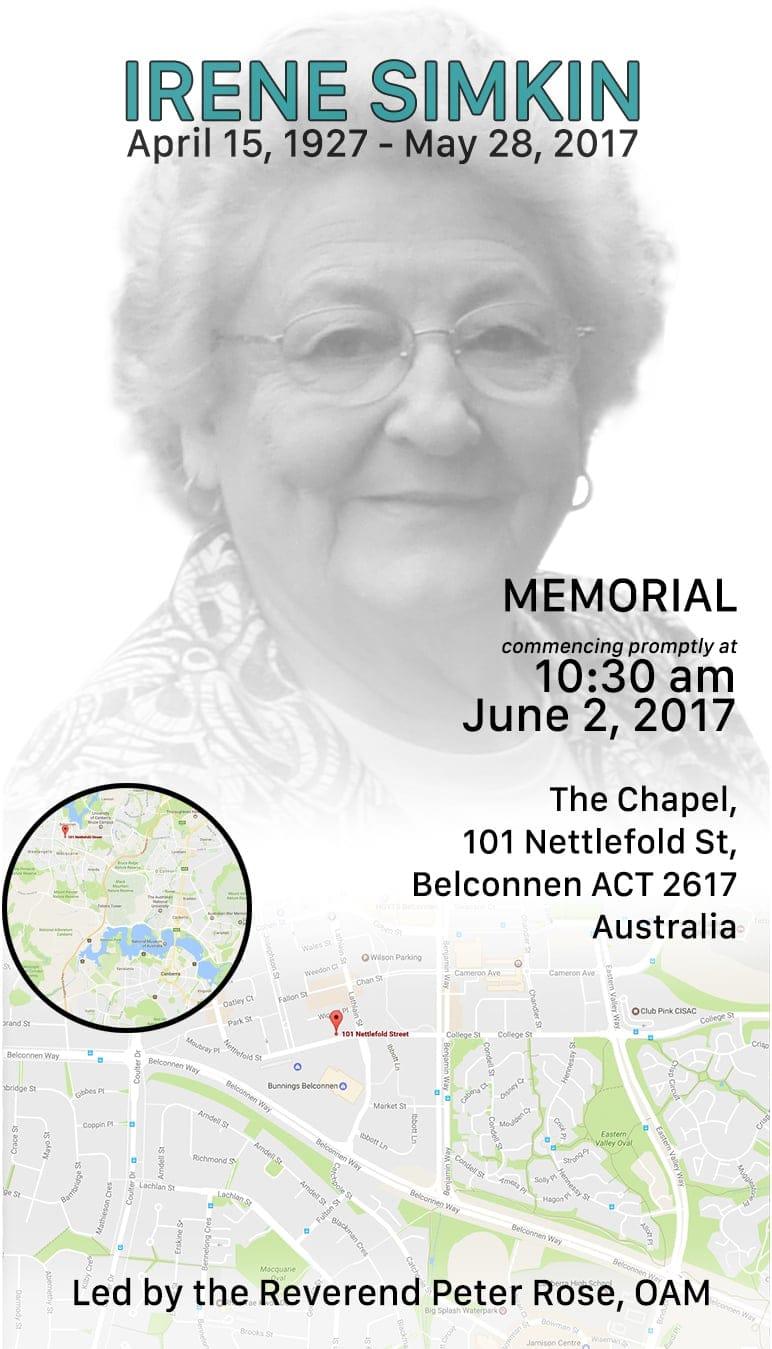 Irene Simkin Memorial Invite