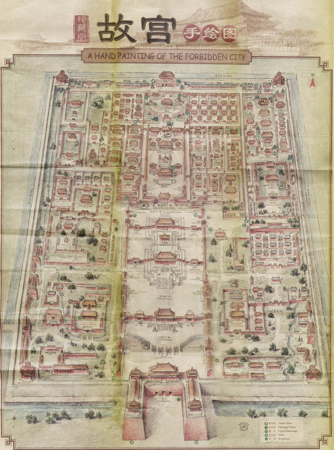 Map Forbidden City Hand Painting