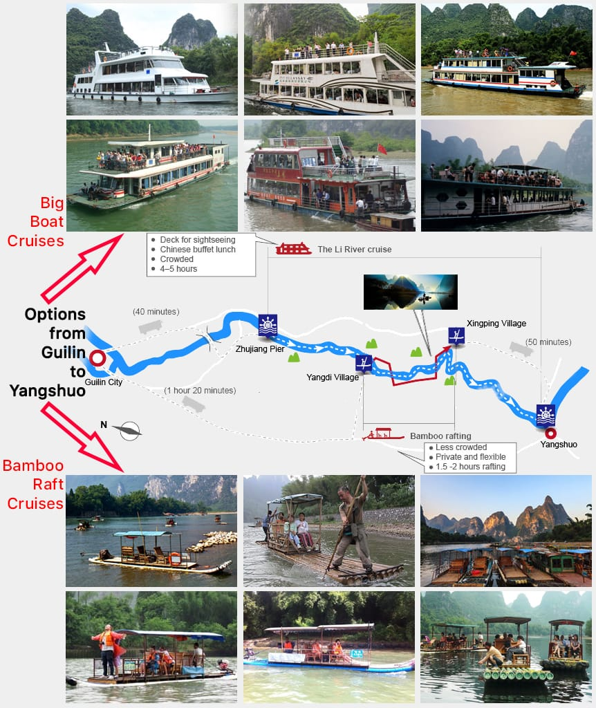 Map Li River Options Guilin to Yangshuo
