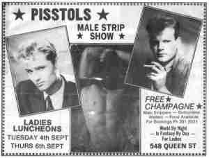 Toby stripper advertisement at World By Night club in 1984