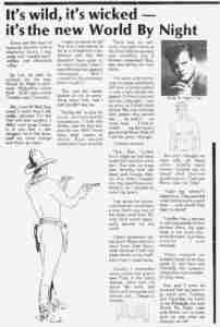 Toby stripper press review at World By Night club in 1984