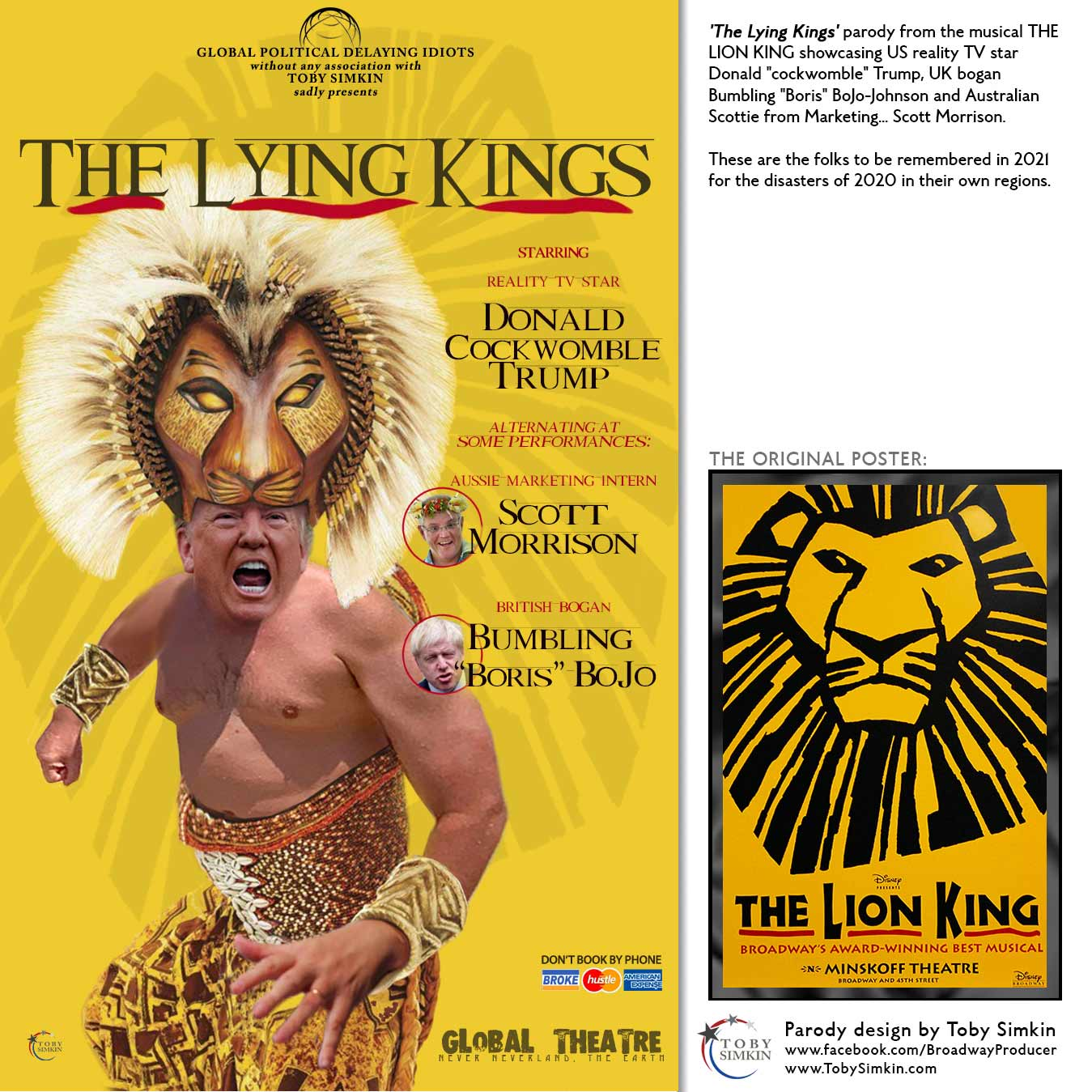 The Lion King Broadway West End Poster Coronavirus Covid 19 Parody Toby Simkin Broadway