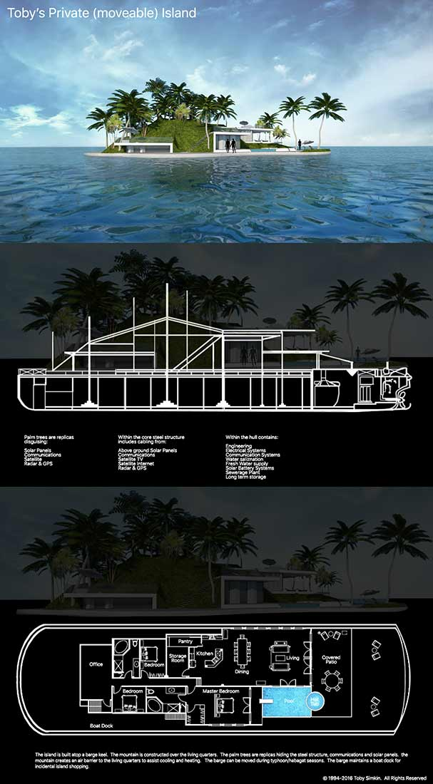 Toby's Design for Retirement Private Island built atop a barge
