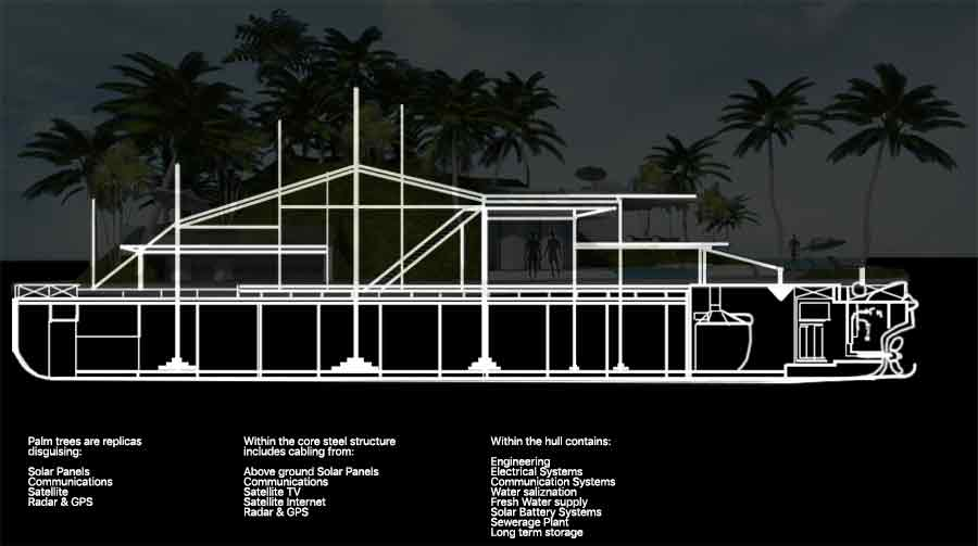 Private Island Dream Barge section