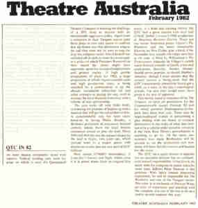 (QTC Brisbane) [Press] Theatre Australia 1982 Season