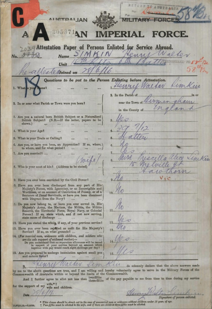 Henry Walter SIMKIN AIF Enlistment Service Number 2039