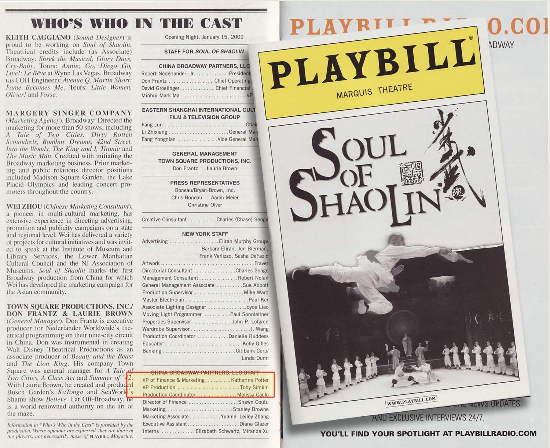 Soul Of Shaolin Broadway Program