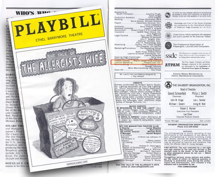 Tale of the Allergists Wife Broadway Program