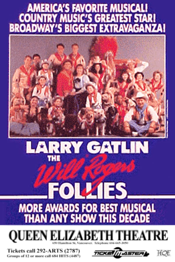 Will Rogers Follies Vancouver Poster