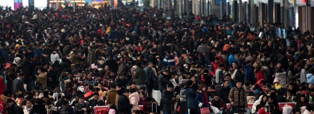 china spring festival crowd