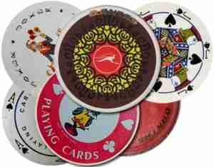 QANTAS Boeing 747 circular playing cards in 1973